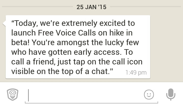 Hike Voice Calling Feature Message