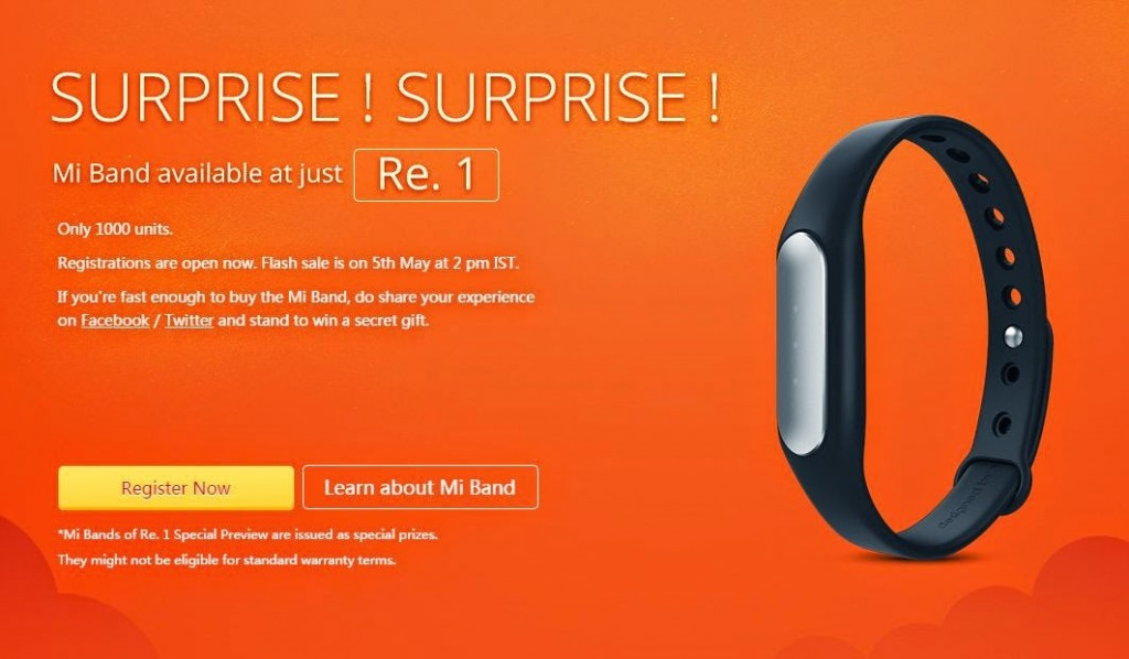 Xiaomi Mi Band For Rs 1