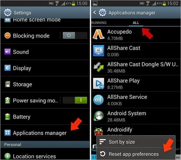 Reset your apps preference