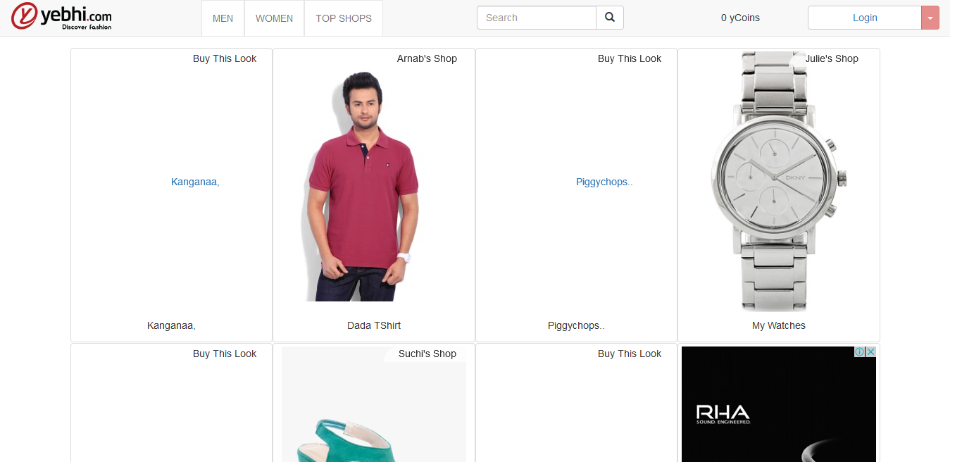 Yebhi - Online clothes shopping website