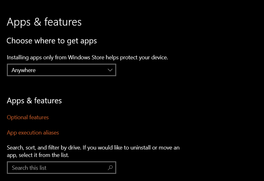 Windows 10 Apps then optional features