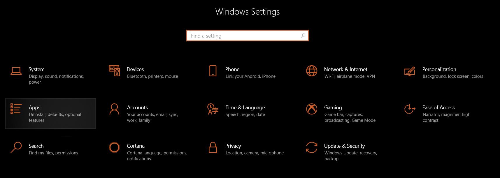 Windows 10 Settings then Apps